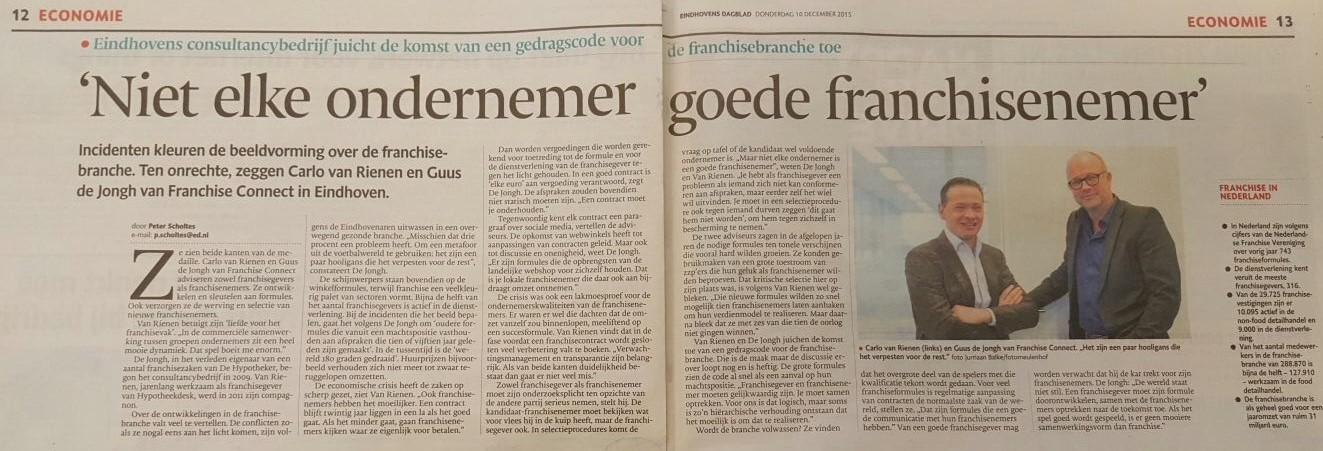 Artikel Franchise Concern krant